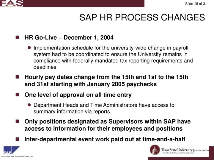 SAP HR PROCESS CHANGES