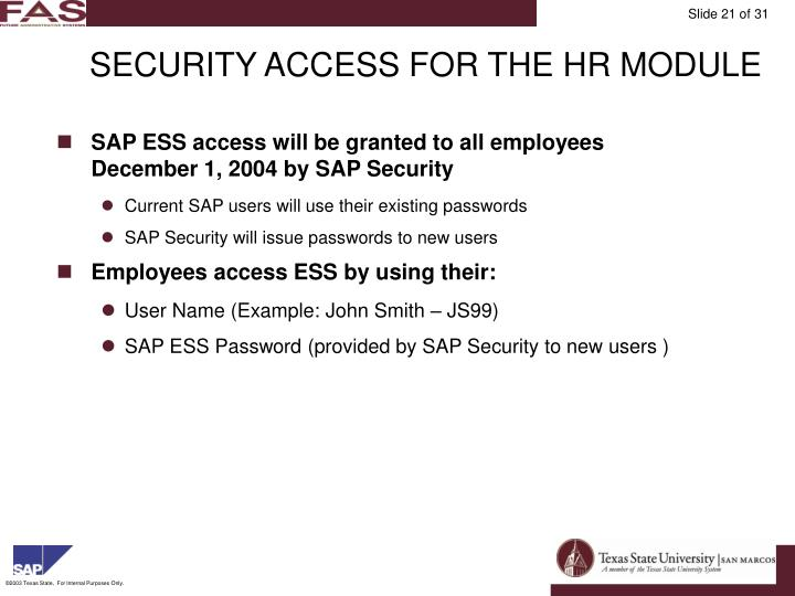 SECURITY ACCESS FOR THE HR MODULE