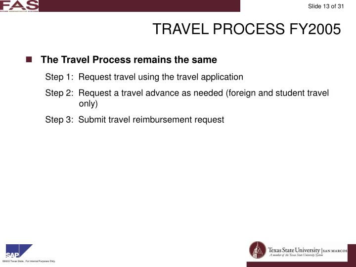 TRAVEL PROCESS FY2005