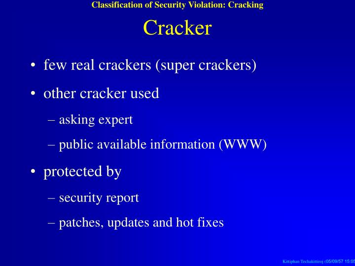 Classification of Security Violation: Cracking