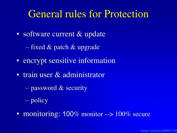 General rules for Protection