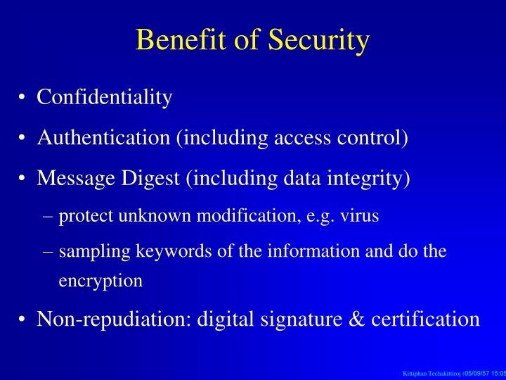 Benefit of Security
