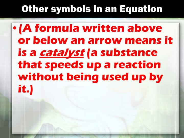 Other symbols in an Equation