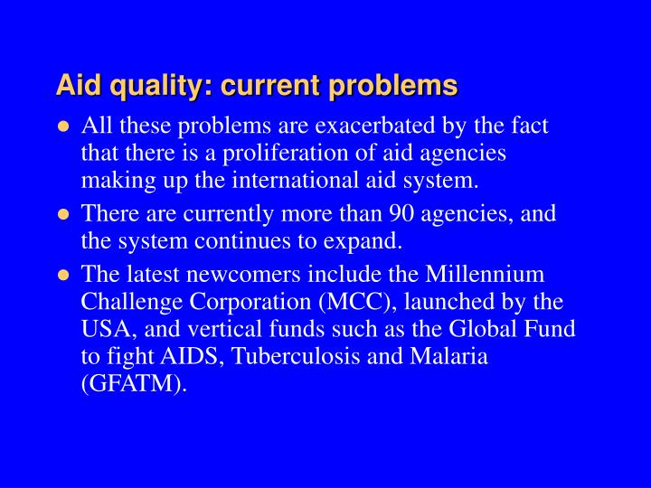 Aid quality: current problems