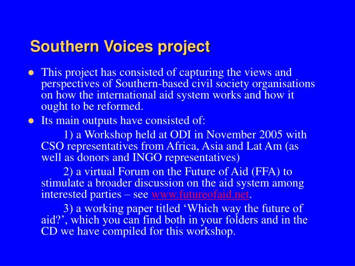 Southern Voices project