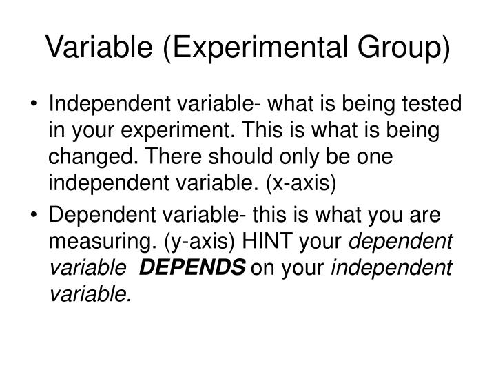 Variable (Experimental Group)