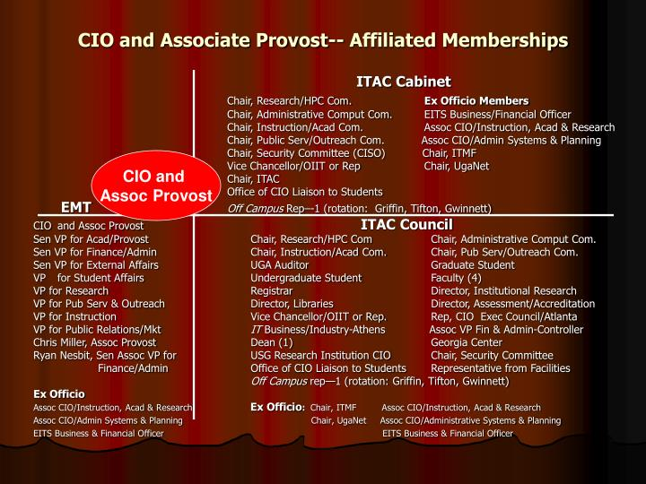 CIO and Associate Provost-- Affiliated Memberships