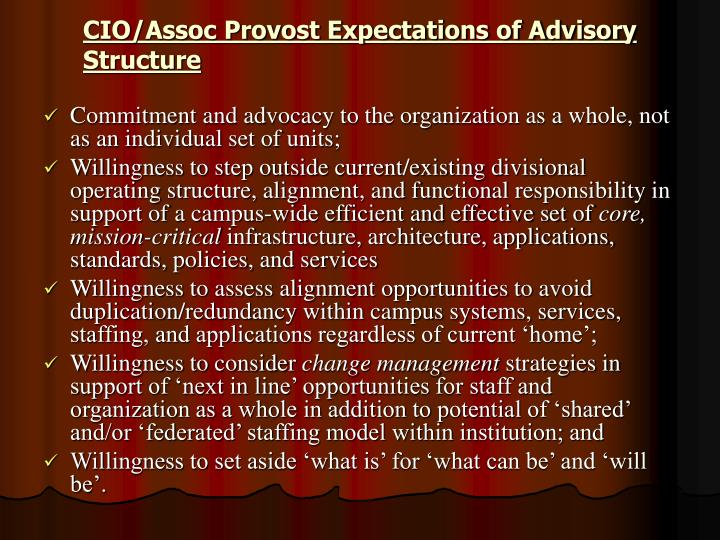CIO/Assoc Provost Expectations of Advisory Structure