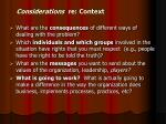 considerations re context