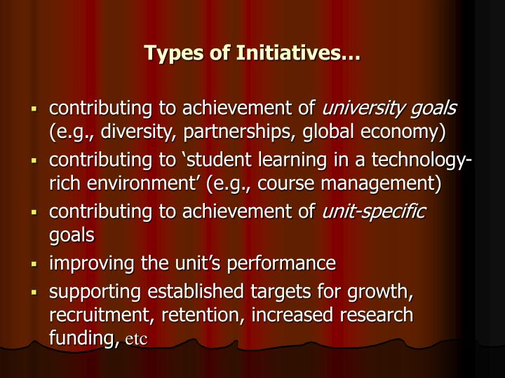 Types of Initiatives…
