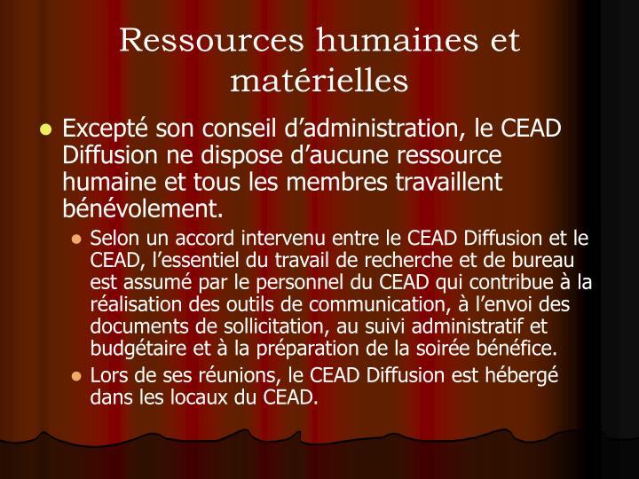 Ressources humaines et matérielles