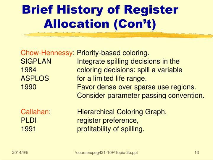 Brief History of Register Allocation (Con't)
