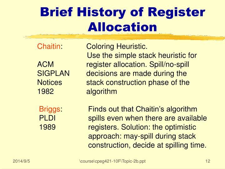 Brief History of Register Allocation