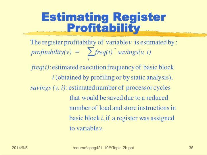 Estimating Register Profitability