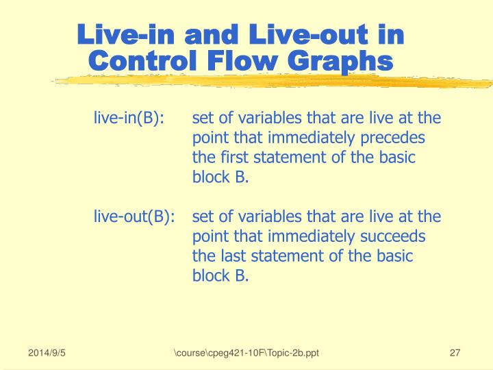 Live-in and Live-out in Control Flow Graphs