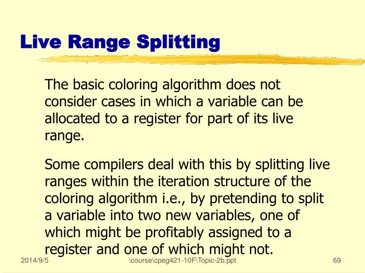 Live Range Splitting
