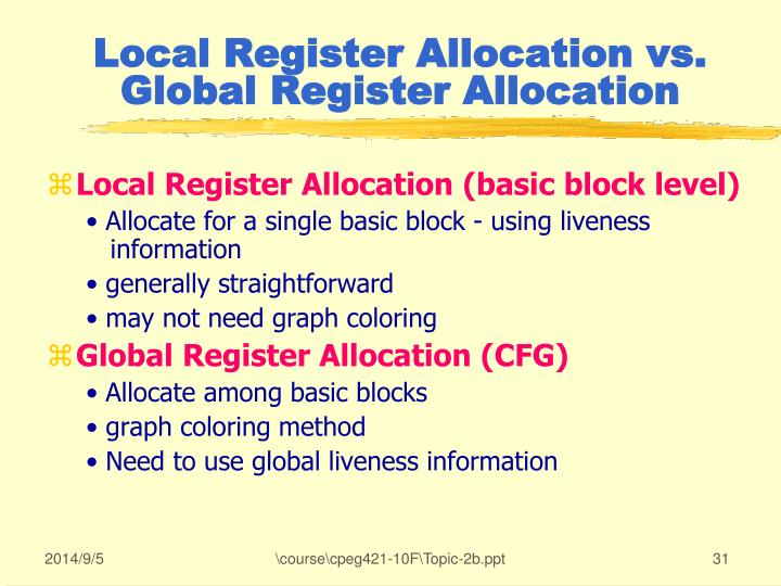 Local Register Allocation vs. Global Register Allocation