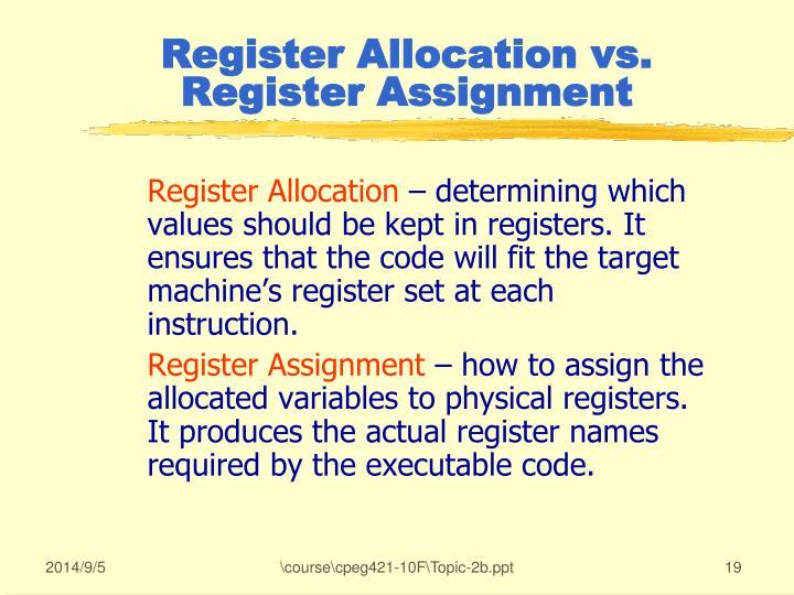 Register Allocation vs. Register Assignment