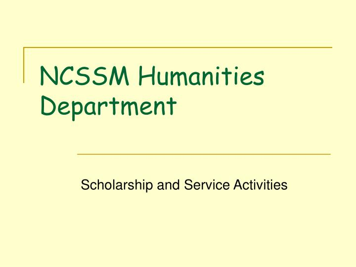 Ncssm humanities department