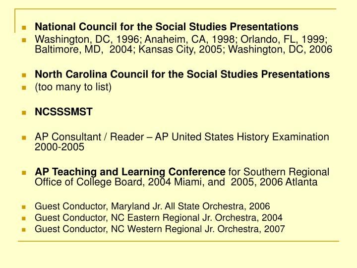 National Council for the Social Studies Presentations
