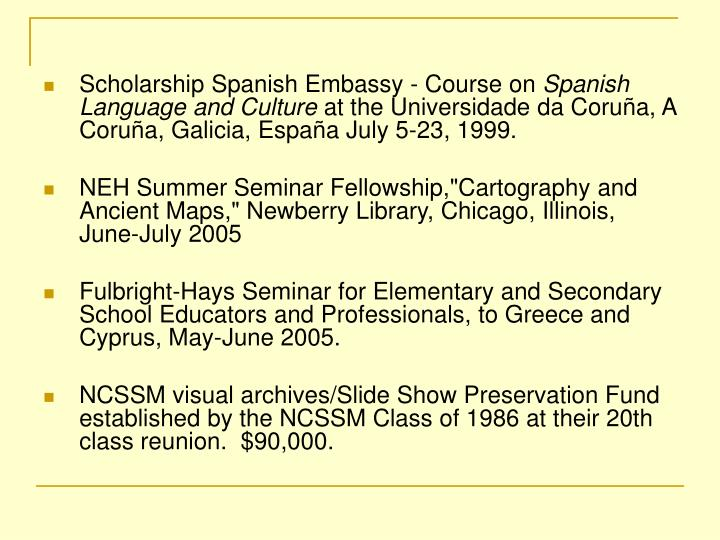 Scholarship Spanish Embassy - Course on