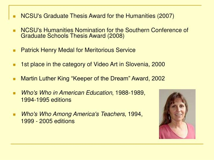 NCSU's Graduate Thesis Award for the Humanities (2007)