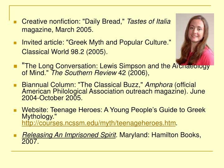 "Creative nonfiction: ""Daily Bread,"""