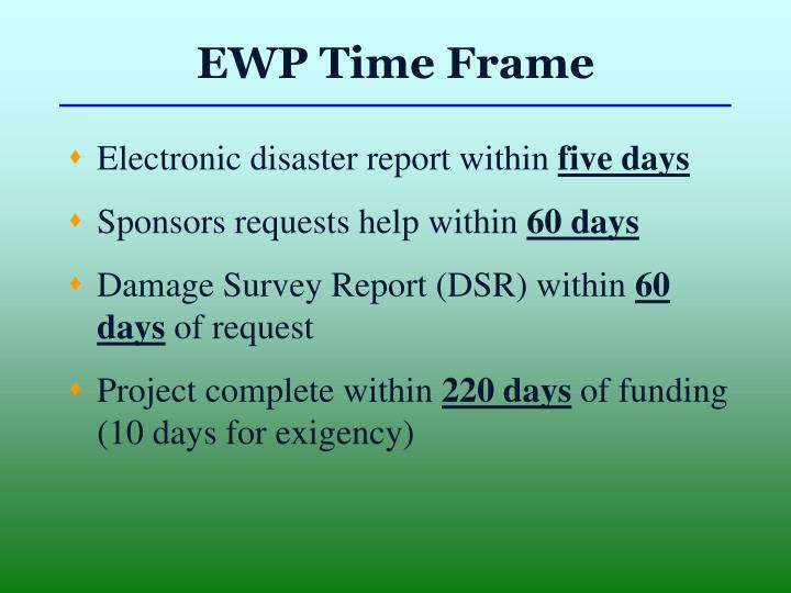EWP Time Frame