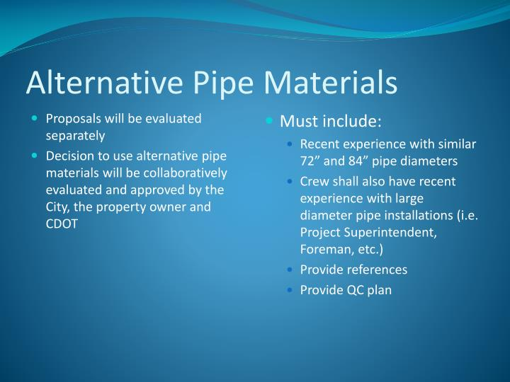 Alternative Pipe Materials