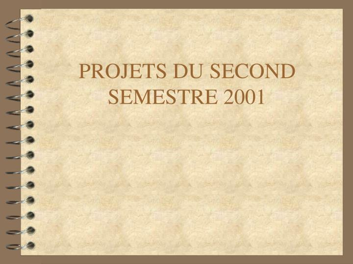 PROJETS DU SECOND SEMESTRE 2001