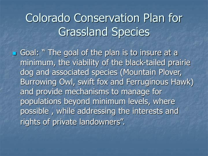 Colorado conservation plan for grassland species