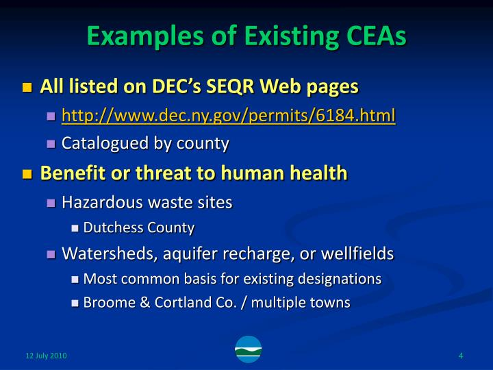 Examples of Existing CEAs