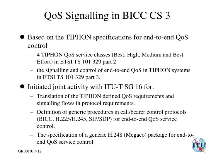 QoS Signalling in BICC CS 3