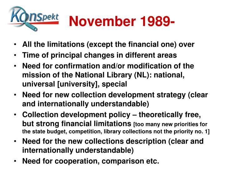 November 1989-