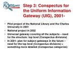 step 3 conspectus for the uniform information gateway uig 2001