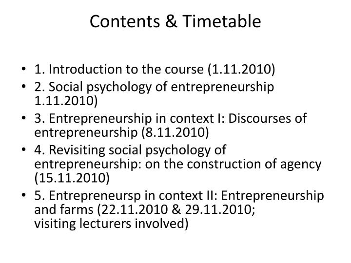 Contents timetable