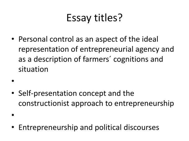 Essay titles?