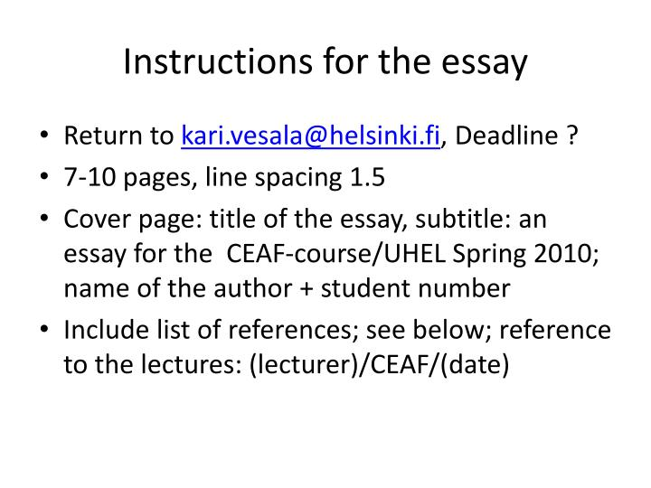 Instructions for the essay