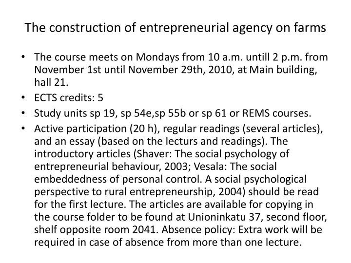 The construction of entrepreneurial agency on farms1