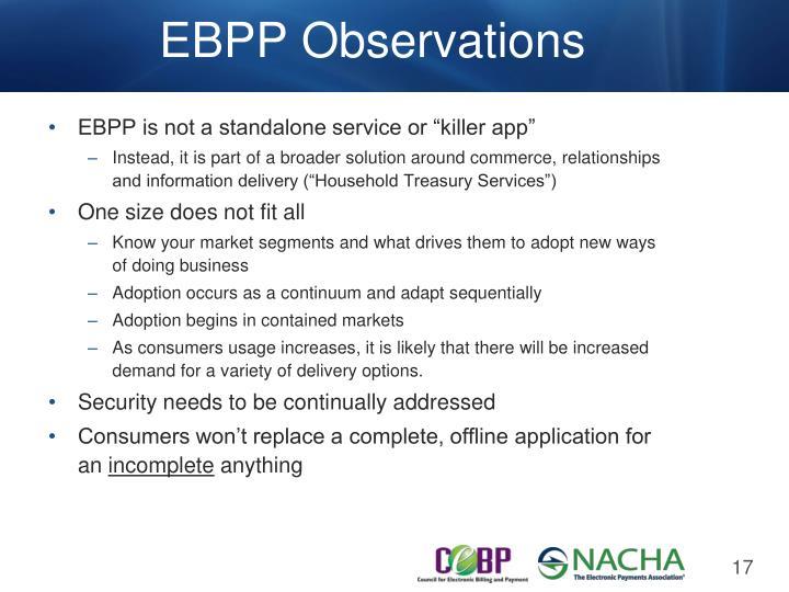 EBPP Observations