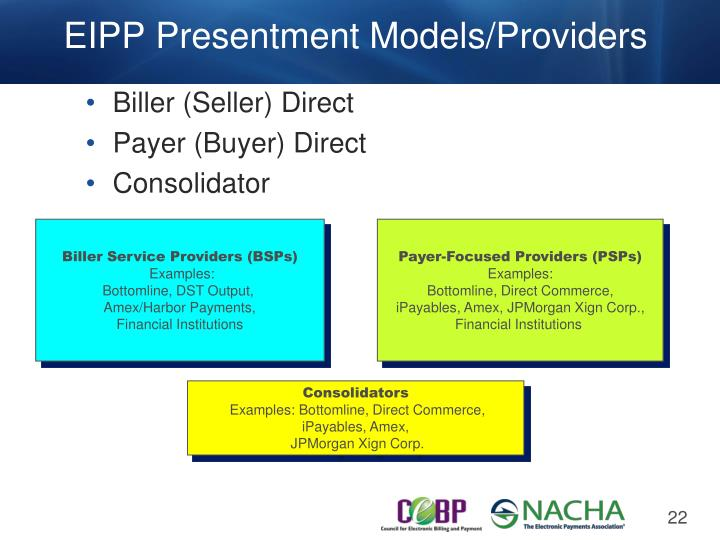 EIPP Presentment Models/Providers