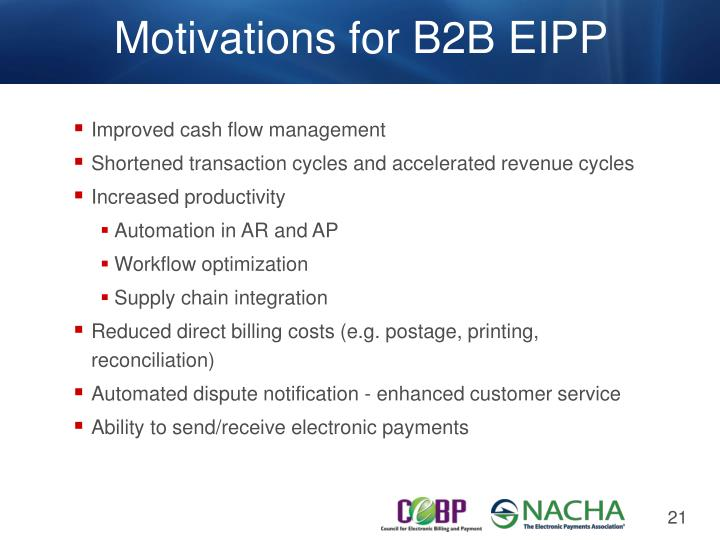 Motivations for B2B EIPP