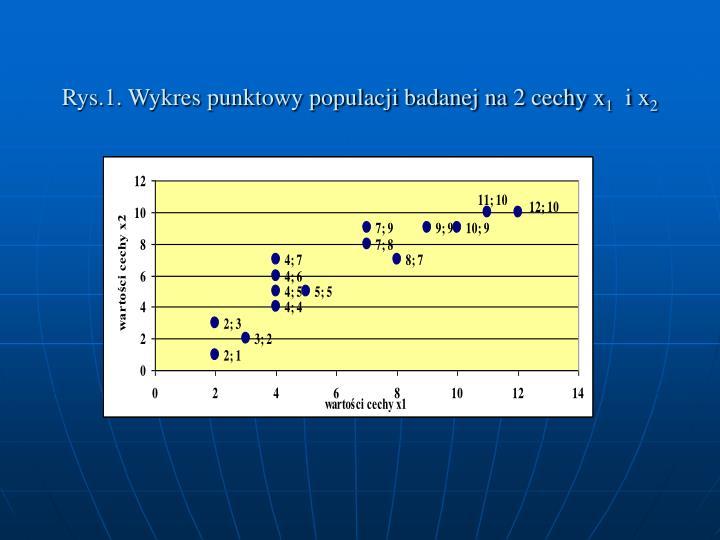 Rys.1. Wykres punktowy populacji badanej na 2 cechy x