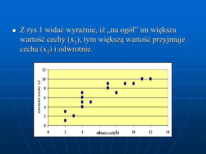 Z rys.1 wida wyranie, i na og im wiksza warto cechy (x