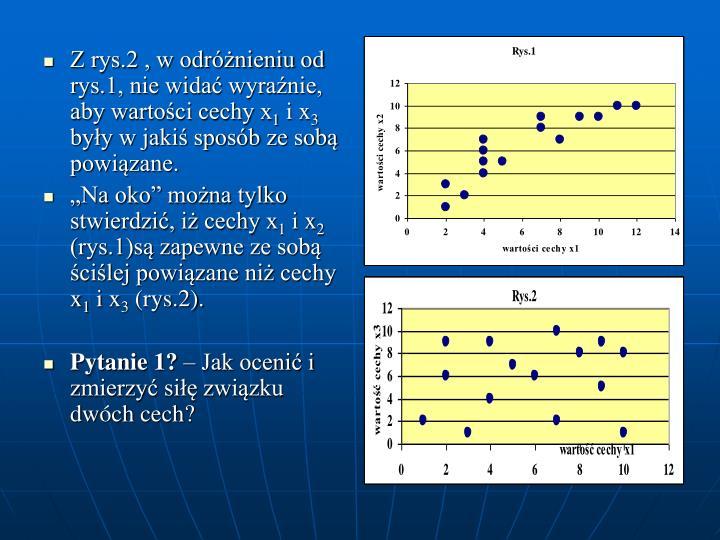 Z rys.2 , w odróżnieniu od rys.1, nie widać wyraźnie, aby wartości cechy x