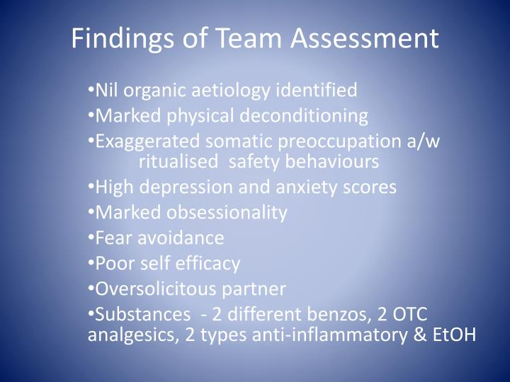 Findings of Team Assessment