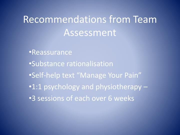 Recommendations from Team Assessment