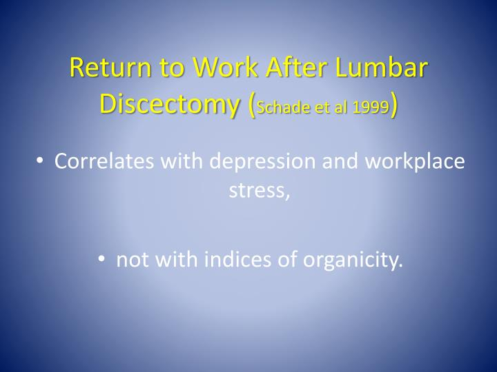 Return to Work After Lumbar