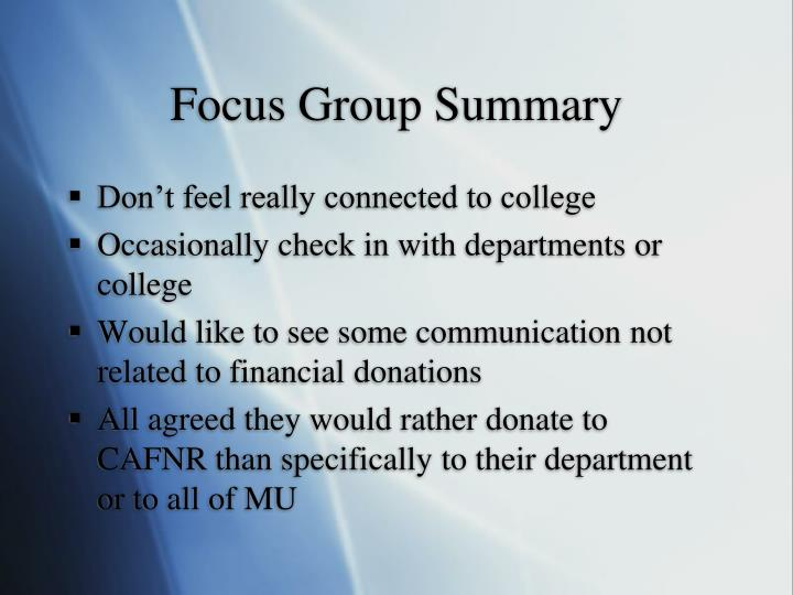 Focus Group Summary