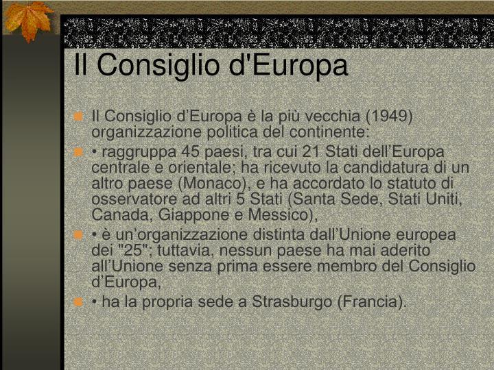 Il Consiglio d'Europa